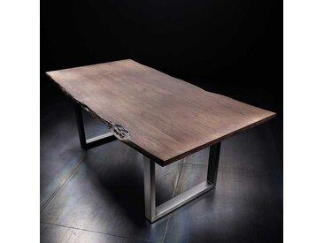Baumkantentisch in Walnussfarben und Silber Akazie Massivholz und Edelstahl