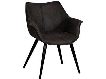 Armlehnen Esszimmerstühle in Dunkelgrau Microvelour (2er Set)