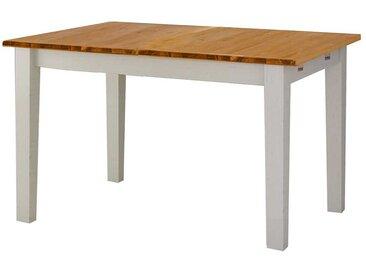 Landhaus Tisch in Weiß und Honigfarben Kiefer Massivholz