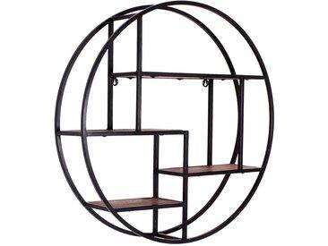 Rundes Hängeregal aus Massivholz und Metall Loft Design