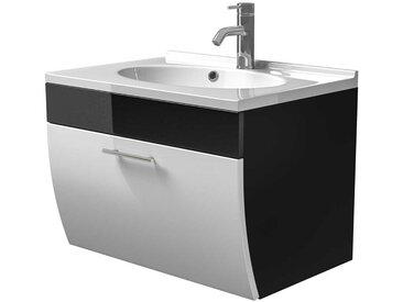 Badezimmer Waschbeckenschrank mit Klappe Anthrazit Weiß Hochglanz