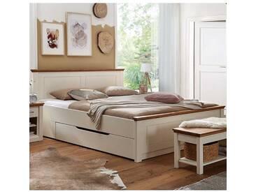 Massivholzbett in Creme Weiß und Eichefarben Landhaus Design