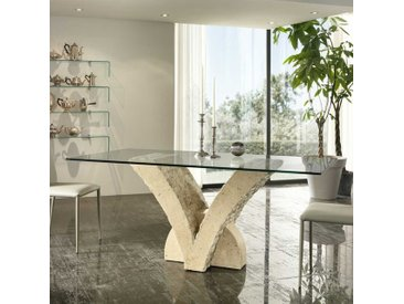 Glas Esstisch mit Steinfuß V-Form Beige