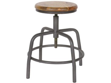 Sitzhocker mit rundem Holzsitz Grau Metall