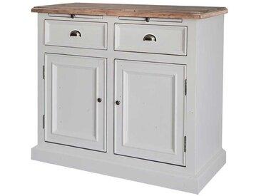 Küchenkommode in Weiß Teakfarben Kiefer Recyclingholz