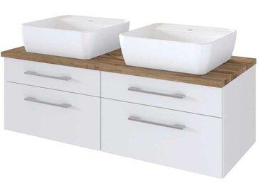 Doppelwaschbeckenschrank in Weiß und Wildeiche Dekor 120 cm breit