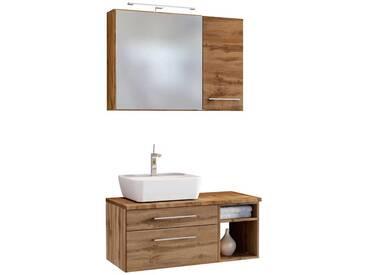 Waschplatz Set mit Spiegelschrank Wildeiche Dekor (3-teilig)