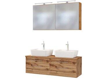 Doppel Waschtisch mit LED Spiegelschränken Wildeiche Dekor (3-teilig)