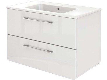 Waschbeckenunterschrank in Hochglanz Weiß 80 cm breit