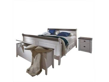 Schlafzimmer Einrichtung im Landhausstil Weiß Grau (4-teilig)