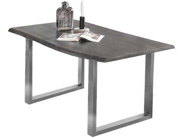 Design Baumkanten Tisch in Dunkelgrau Akazie massiv Bügelgestell in Silberfarben