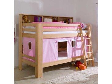 Stockbett mit Vorhang in Rosa Buche Massivholz