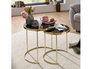 Glasstisch Set in Schwarz und Goldfarben rund (2-teilig)