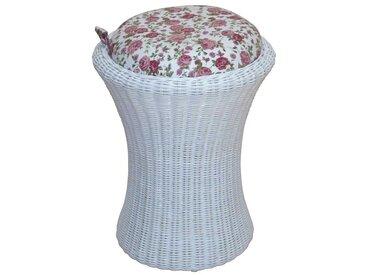 Wäschehocker in Weiß Rattan Blumenmuster Stoff