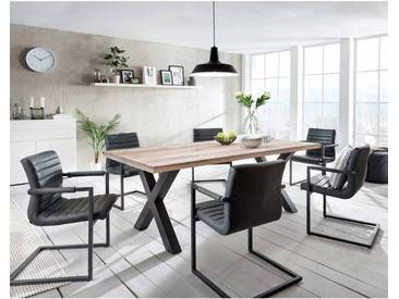 Esstisch mit Stühlen im Loft Design Anthrazit Eiche massiv (7-teilig)