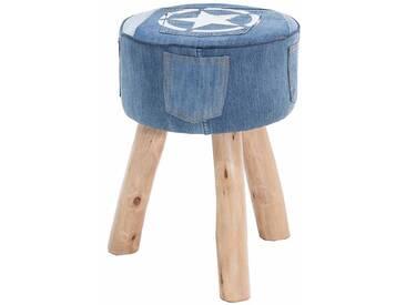 Vintage Hocker mit Jeans Stoff Holzbeine