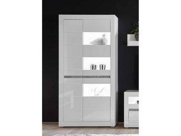 Wohnzimmervitrine in Weiß Hochglanz und Beton Grau 100 cm