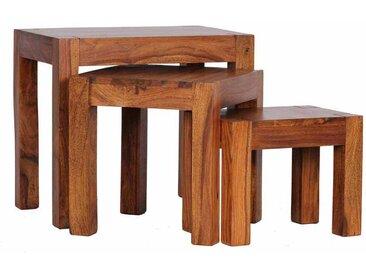 Dreisatztisch aus Sheesham Massivholz lackiert (3-teilig)