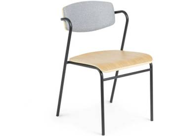 Armlehnen Küchenstuhl aus Schichtholz und Stahl gepolsterter Lehne in Grau (4er Set)