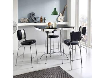 Küchenbar Set im Retro Style Schwarz Weiß gestreift (5-teilig)