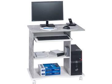 Entzuckend Computertisch Mit Rollen Beton Grau Und Weiß