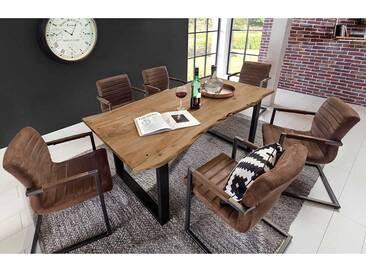 Design Esszimmergruppe mit Baumkantentisch Akazie massiv (7-teilig)