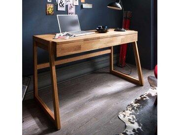 Echtholz Schreibtisch aus Wildeiche geölt einer Schublade