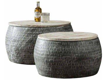 Beistelltisch Set aus Stahl Mangobaum Massivholz (2-teilig)