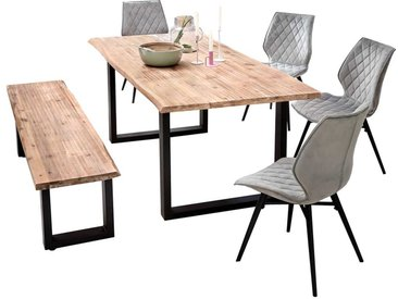 Esszimmergarnitur mit Baumkantentisch und Bank Akazie Massivholz (6-teilig)