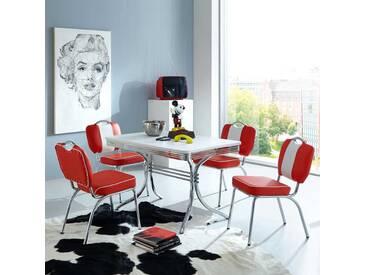 Tisch mit 4 Stühlen im Retro Style Rot Weiß gestreift (5-teilig)