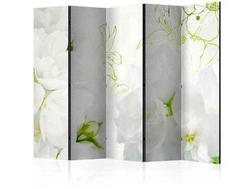 Leinwand Paravent mit weißen Jasminblüten 225 cm breit