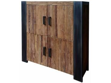 Wohnzimmer Highboard aus Teak Massivholz Metall Schwarz