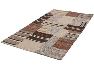 Patchwork Teppich in Braun und Beige gewebt