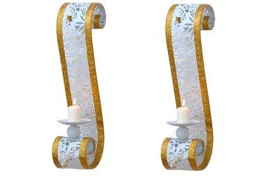 Wandhalter für Kerzen Weiß Gold (2er Set)