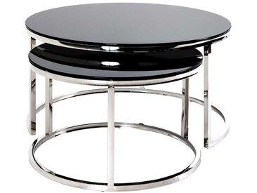 Rundes Beistelltisch Set mit Schwarzglasplatten Edelstahl Bügelgestellen (2-teilig)