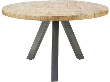 Runder Esszimmertisch aus Mangobaum Massivholz Edelstahl