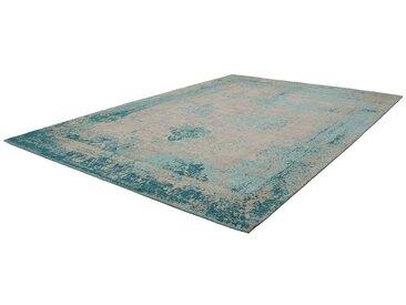Vintage Teppich aus Chenillegewebe Türkis und Beige
