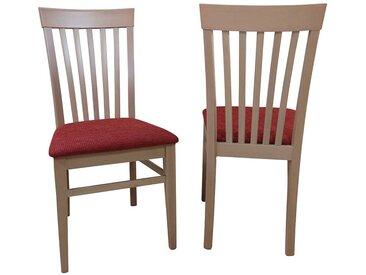 Esszimmerstuhl Set aus Buche Massivholz Rot Webstoff (2er Set)