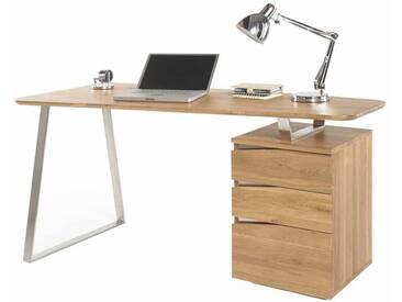 Computer Schreibtisch aus Eiche geölt abgerundet