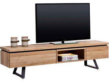 TV Lowboard aus Massivholz und Stahl Eichefarben und Schwarz