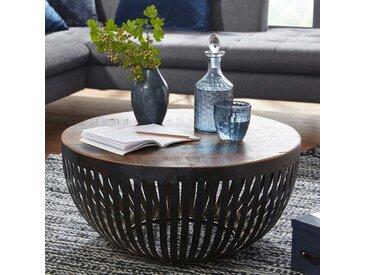 Design Wohnzimmertisch in Trommelform Eisen und Recyclingholz