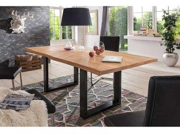 Esszimmertisch mit Baumkante Wildeiche massiv Stahl
