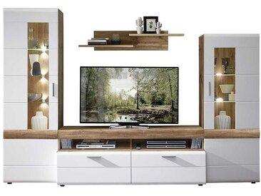 TV Wohnwand in Weiß und Eichefarben 280 cm breit (4-teilig)