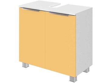 Waschtischunterschrank in Gelb und Weiß 55 cm hoch