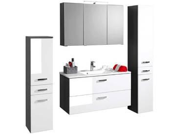 Schon Badezimmer Set In Weiß Grau Mit Spiegelschrank (4 Teilig)
