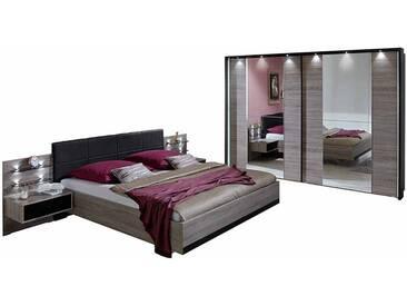 Schlafzimmer Einrichtung in Schwarz Eiche Schwebetürenschrank (4-teilig)