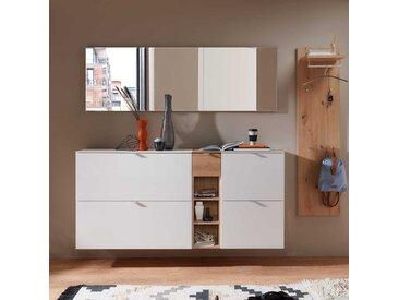 Dielenmöbel Set in Weiß und Wildeiche Optik modern (5-teilig)