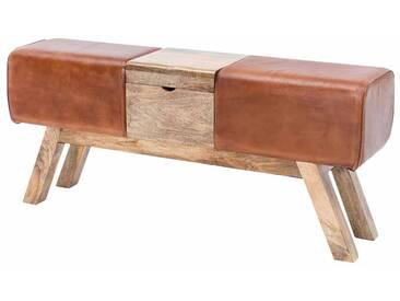 Retro Sitzbank mit Truhe Braun Leder