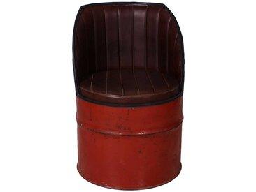 Clubsessel in Rot Braun Metall