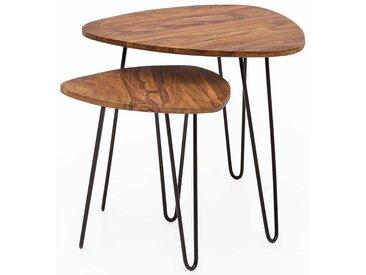 Couchtisch Set aus Sheesham Massivholz und Eisen Wankelform (2-teilig)